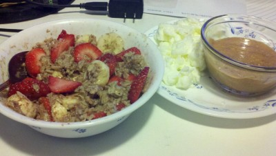 My breakfast. This is probably the only way id ever tolerate oatmeal. :)  And for the win, a bowl of natural peanut butter! Haha, I swear im addicted.