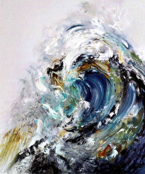 2headedsnake:  artrepublic.com Maggi Hambling, Summer Wave Tunnel, 2010  Love me some waves! Waves at the prom