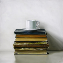 "birdcagewalk:  bonaventurer:Espresso Cup & Antique Books 18"" x 18""  