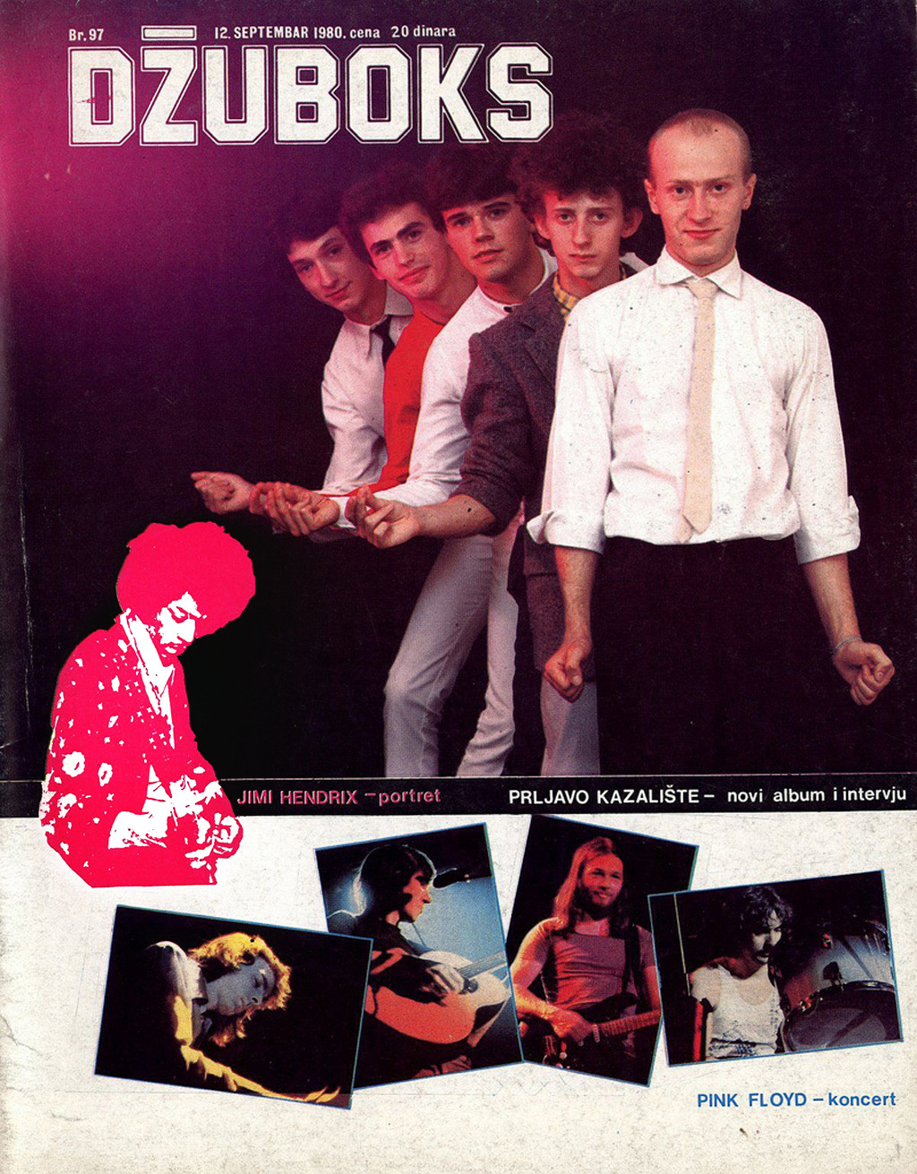 Džuboks magazine (September 12th 1980. issue), with Prljavo kazalište on the cover.