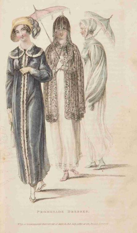 Ackermann's Repository, Promenade Dresses, July 1810.  Nice selection of shoes and parasols!