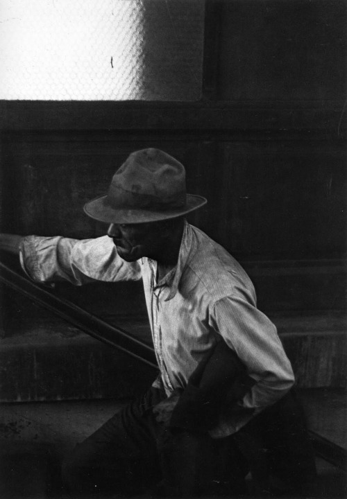 "jumblepusher:  Roy DeCarava. ""Man coming up subway stairs"". 1952. New York, NY, USA.  Roy DeCarava"