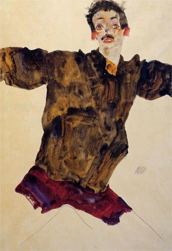 Egon Schiele, Self-Portrait with Outstreched Arms, 1911