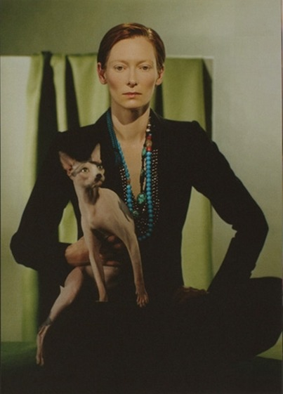 awesomepeoplewithcats:  Tilda Swinton with a cat.