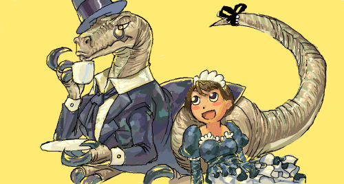 Chaptor, the Gentleman Raptor, and his maid, Agna.  For /co/niverse.  Done while listening to this.  http://www.youtube.com/watch?v=ffwVKDP8nzQ
