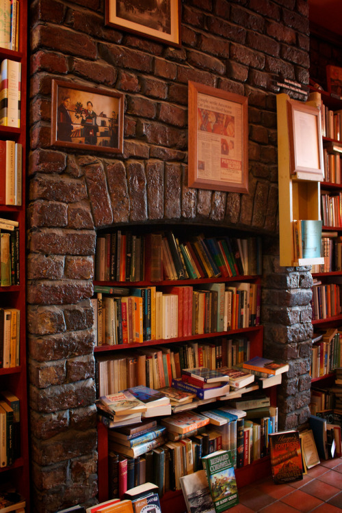 bookmania:  Books In The Fireplace (photo by Joni Van Bogaert)