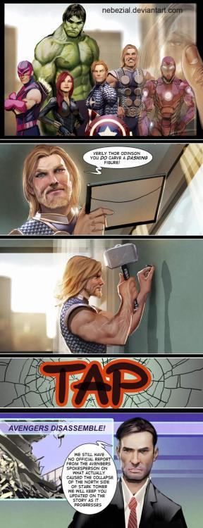 thor redecorating- avengers, disassemble by nebezial