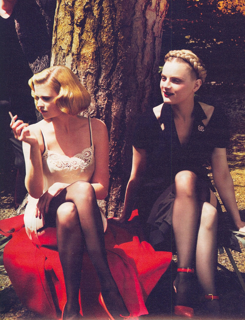 """Sunday in the park""; Lara Stone and Guinevere Van Seenus photographed by Mert & Marcus and styled by Alex White for W"