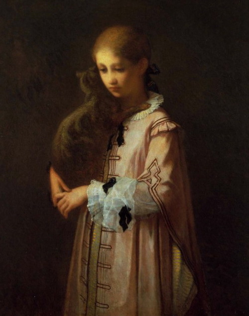 "William Morris Hunt ""Girl with Cat"""