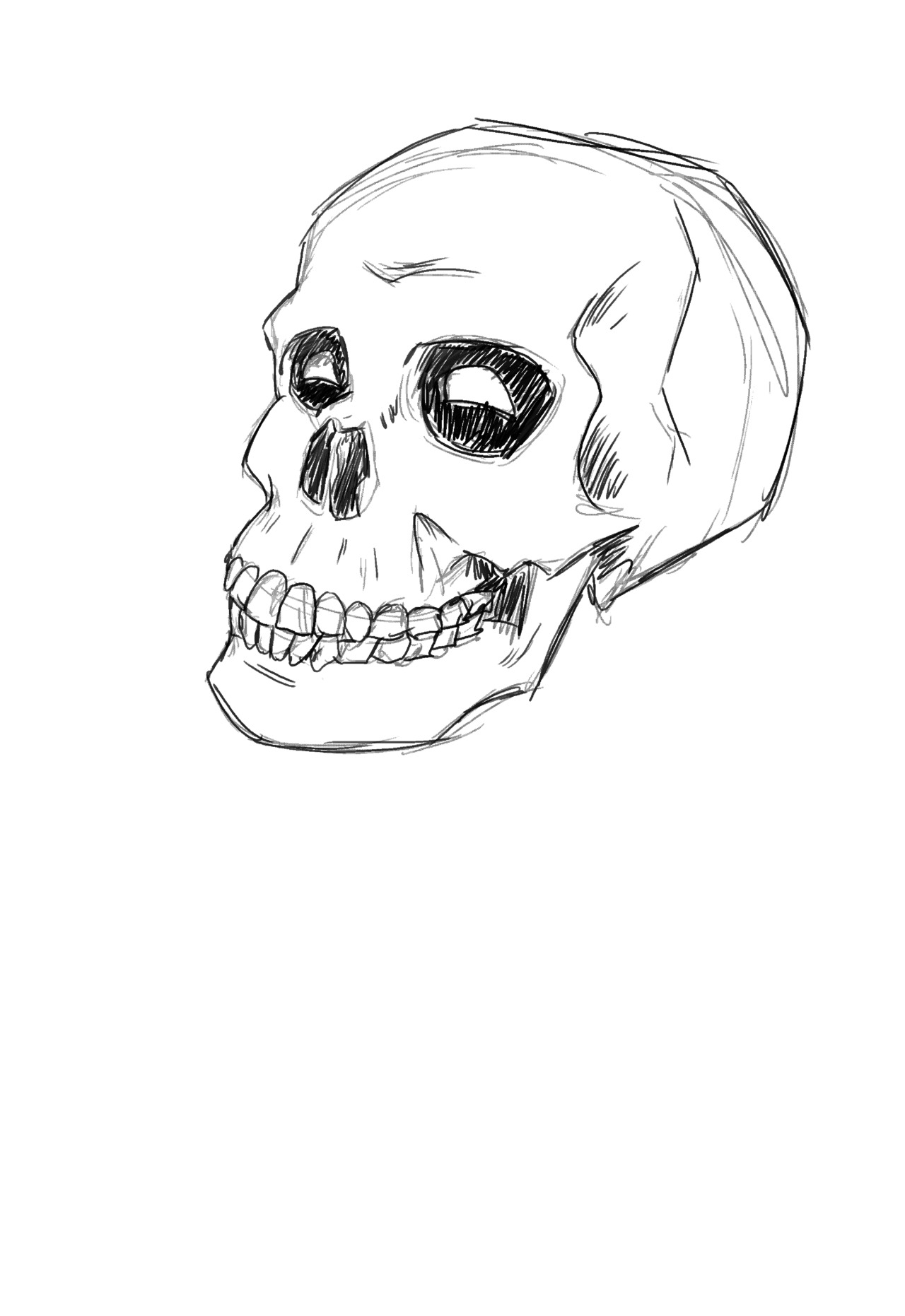 kelmcdonald:  Easiest Dresden Character to draw. Bob the Skull. I decided that the lights in his eyes would change shape and move to show his expressions and emotions. Other than that he's just a Skull.