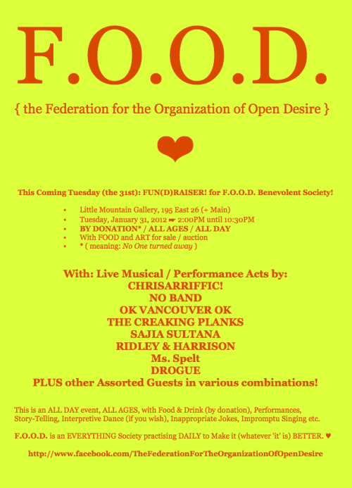 F.O.O.D. Poster, in 'YERROW' (that's orange/yellow!) ☛ Please distribute, repost, reblog, pass on, download, etcetera! ❤ :)K