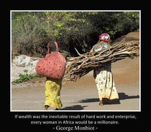 If wealth was inevitable resultof hard work and enterprise, every woman in Africa would be a millionaire. - George Monbiot