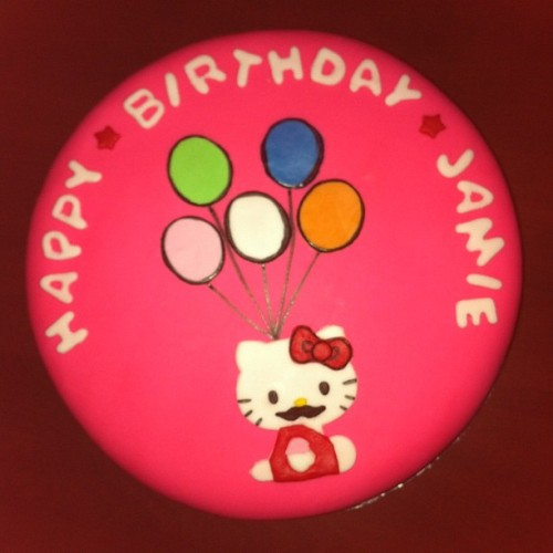 #HK #birthday #cake!! Thank you, Dru & Gina! 💗 it! #Hellokitty #mustache #sweettooth #foodstagram #food  (Taken with Instagram at Round 1)