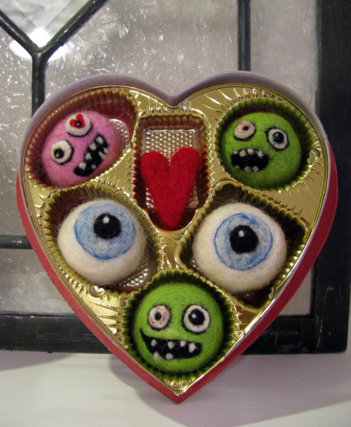 truebluemeandyou:  truebluemeandyou: Zombie Candy. Just on CRAFTS and there a week later?  Needle Felted Zombie Valentine Candy. Seriously, how much more do I love this than a box of chocolates from CVS? From the Etsy Store of SheWhoStamps here.