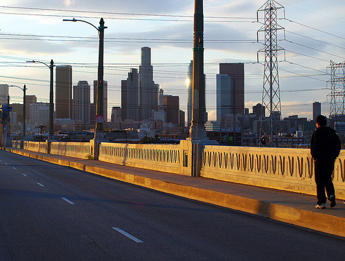 socaleveryday:  Cesar E. Chavez Avenue Viaduct (by avilon_music) Downtown LA from Cesar Chavez Ave.