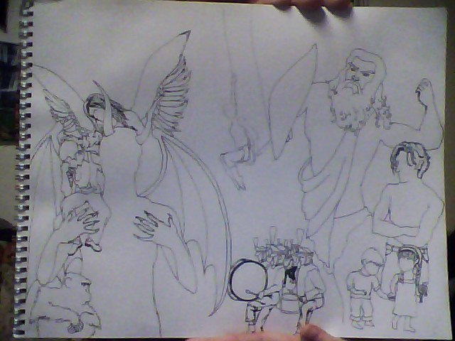 I'll do my best to make a drawing Of God and Lucifer, a boy and girl An angel kissin' on a sinner A monkey and a man, a marching band All around the frightened trapeze swinger Trapeze Swinger - Iron & Wine  I've just spent the last umpteen hours on this, probably because I've never done a collage image like this before. I can't tell if I like it or not, some spaces feel empty. Maybe that's because it's 3:30 am and I've been staring at it for however long now.I'll reassess this in the (later) morning. Opinions?
