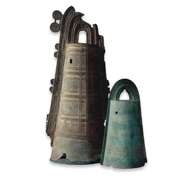 Two bronze dōtaku (ritual bells), Yayoi period (about 300 BC-AD 300), Japan. The origin of the dōtaku is thought to be the Chinese cattle bell. However, the Japanese did not practise cattle farming, so the first bells must have been imported as ritual objects. The fact that they are often found buried on isolated hill-sides and show evidence of having been buried and dug up several times, suggests their use in an agricultural ritual. - britishmuseum.org