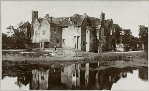 "© F. Frith & Co., Ltd., ca. 1920s, Madeley Court, Scotland ""This picturesque old gabled residence, now uninhabited, is said to have been built by Sir Robert Brooke, and has a magnificent dining hall, which still contains a fine fireplace, an oak staircase, and some heraldic panels.""(original caption) This photo is taken from ""Hutchinson's Britain Beautiful Vol. IV"" (1924-1926), edited by Walter Hutchinson."