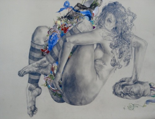 "Artist Ali Miller  ""Attempting to be Prepared"" Graphite and gouache on paper 22""x30"""