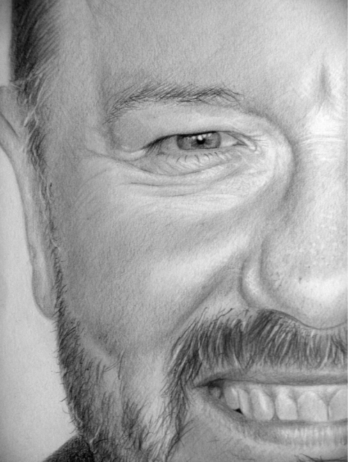 Ricky Gervais Graphite on paper 16.5 x 23.4 inches  Check out the full piece at my website.   http://ianwilgaus.com/