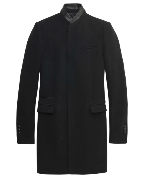 The Kooples coat with stand up collarAs worn by Moriarty in The Reichenbach Fall Wool and Cashmere blend. Leather-piped details. Crested buttons.£390 / $613 Available here at thekooples.com