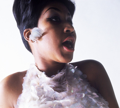 Aretha Franklin. Can we talk about her trademark hot pink lips in the 1960s?
