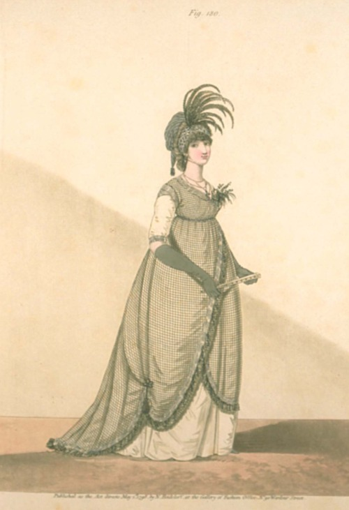 Gallery of Fashion, Half Mourning Dress, May 1798.  I love this look- robe is made of black silk net and the gown below made of white satin.