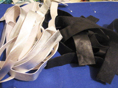 silver and black leather straps for bags