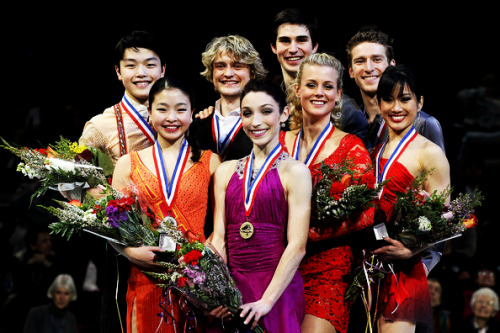 The ice dancing medalists at the U.S. National Championships. 1. Meryl Davis and Charlie White 2. Maia Shibutani and Alex Shibutani 3. Madison Hubbell and Zachary Donohue 4. Lynn Kriengkrairut and Logan Giulietti-Schmitt