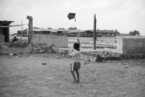 A Boy with his Kite. Porvenir, San Blas Islands near Panama.