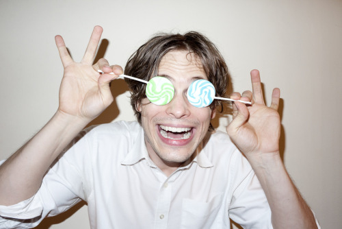 Matthew Gray Gubler wearing his new lollipop glasses.