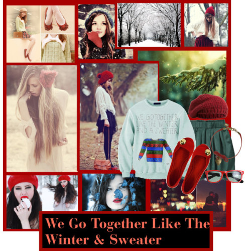 We Go Together Like The Winter & Sweater by zuneperry22 featuring ballet flat shoesSkirtBallet flat shoes, $28Swarovski jewelry, $40Portolano beanie hat, £40Snowy trees || Blank or Christmas card ||, £3