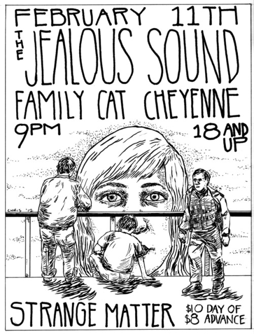 THE JEALOUS SOUND (First headlining tour in 8 years!)FAMILY CAT (punk/alternative ffo: samiam, jawbreaker, archers of loaf. members of the haverchucks/tiger tail)CHEYENNE (mathy indie rock ffo: mock orange, braid, etc. members of Midair/Jabroni)$8 advance/$10 day of9pm doors/10pm music18+THE  JEALOUS SOUND is touring again after 8 years of dormancy. They are  releasing their first new LP since 2003 this month, and celebrating it  with a string of headlining shows. Also playing are locals  FAMILY CAT and CHEYENNE.  http://www.facebook.com/events/280063755391403/