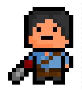 """Ash J Williams 2.0, a remixed version of an earlier pixelation based on the groovy protagonist of the """"Evil Dead"""" series.  Requested by: www.grahamx.tumblr.com"""