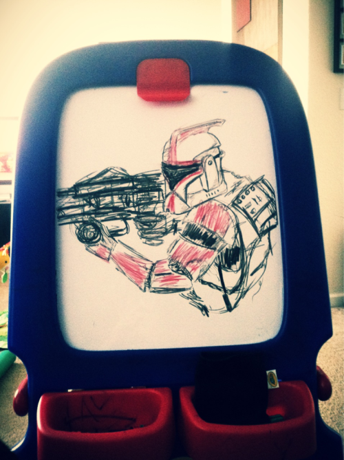 Playing with my son and whiteboard crayons.