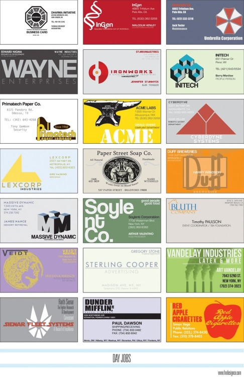 Business cards for famous corporations in movies (and some superheroes' day jobs).  Can you name them all?
