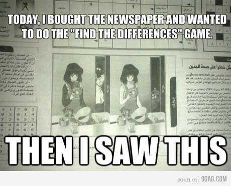 sailorfailures:  9gag:  Find the differences  WHAT  Best. Newspaper. EVER.