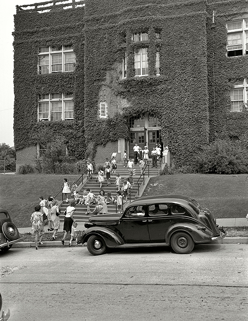 Washington, D.C., circa 1940. Children leaving Randle School.
