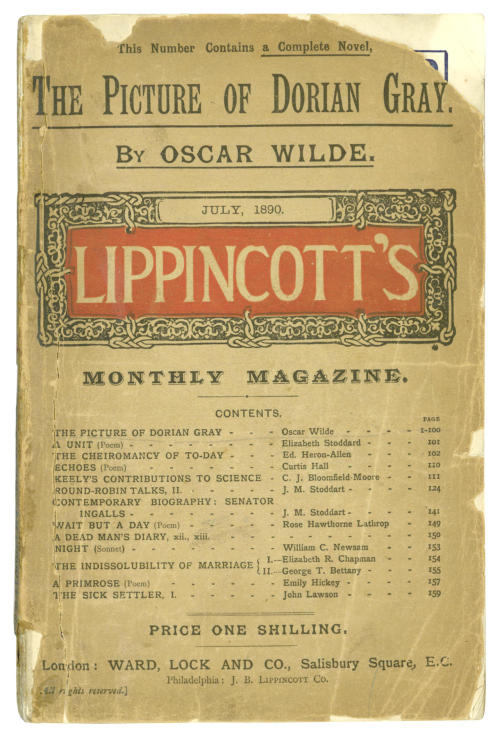 "The Picture of Dorian Gray Oscar Wilde.  Lippincott's Monthly Magazine Privately Printed, 1904.  20-pages of advertisements (including 16 for Ward and Lock), publisher's printed wrappers in red and black, lacks lower wrapper, upper wrapper detached, chipped at edges and head and tail of spine [Mason 81], 8vo, Ward, Lock and Co., July, 1890; The Soul of Man Under Socialism, NUMBER 231 OF 250 COPIES, half-title inscribed in pencil ""H.A. Jan. 08"", bookplate of HERBERT ASQUITH, publisher's wrappers, 8vo.  The first appearance of Dorian Gray, containing thirteen chapters. The first edition in book form had an additional six chapters and was published by Ward, Lock in 1891. The Lippincott appearance was published simultaneously in London (as here, copies of which are not recorded in ABPC) and in Philadelphia (Mason 82).  __________________________ ""There is no such thing as a good influence, Mr. Gray. All influence is immoral—immoral from the scientific point of view.""  ""Why?""  ""Because to influence a person is to give him one's own soul. He does not think his natural thoughts, or burn with his natural passions. His virtues are not real to him. His sins, if there are such things as sins, are borrowed. He becomes an echo of some one else's music, an actor of a part that has not been written for him. The aim of life is self-development. To realize one's nature perfectly—that is what each of us is here for. People are afraid of themselves, nowadays. They have forgotten the highest of all duties, the duty that one owes to one's self. Of course, they are charitable. They feed the hungry and clothe the beggar. But their own souls starve, and are naked. Courage has gone out of our race. Perhaps we never really had it. The terror of society, which is the basis of morals, the terror of God, which is the secret of religion—these are the two things that govern us. And yet—"""