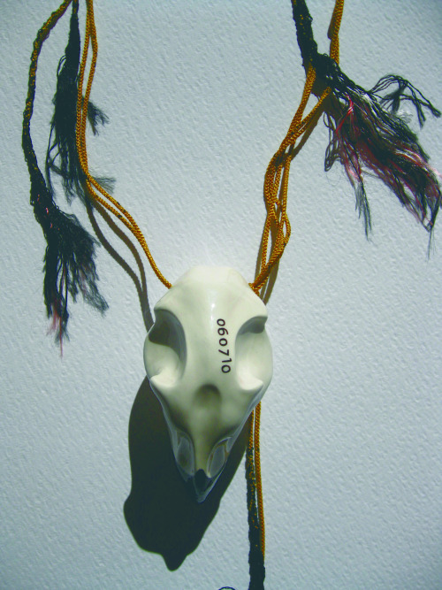 Teresa & Helena Jané: 060710, 2011, ceramic and soutache, carved and hand-painted, h=4,5x2,4x2,4""