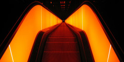 "Escalator to hell or stairway from heaven. by lecasio on Flickr.Via Flickr: This pictures shows the longest free hanging escalator in Germany. It´s 24 meters high and 58 meters long and consists of 250 stairs! It takes you in 90 seconds to ""Entry"" ""ENTRY2006 will take place on the grounds of the world heritage site at Zollverein, which used to be Europe's largest mining facility. The focus of ENTRY2006 is on design, the motor of the creative sector and a competitive and innovative economic factor of the future."" cited from the website —> Better on black!!!"