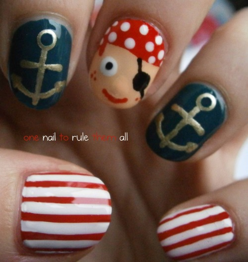 Pirate nails, on my noticeably shorter nails *cry*, but I'm going to make the most of a bad situation and do some nice designs for short nails (or try to), so keep a look out :)