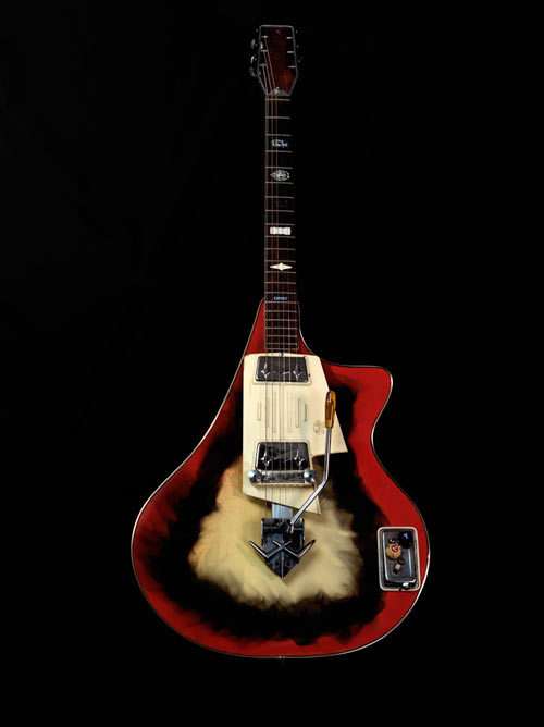 1960s Wandre This  Wandre is one of the few guitars made by Wandre Pioli in Italy in the  1960s. It features Davoli pickups and bakelite top. Because so few were  made, Wandre guitars can command five figures on the vintage market.  Guitar courtesy Lark Street Music, photo: Jonathan Singer.
