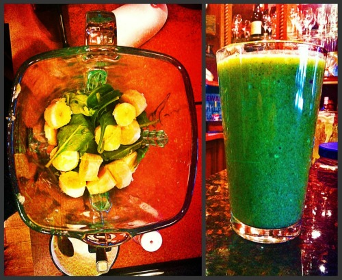 radatattat:  -2 handfuls spinach leafs  -1 banana -1 cup pinaple and some of the juice -1 cup light yoplay vinalla yogurt (you could use any flavor) - ice (to your own consistency preference)   - and about a cup of water. AND enjoy its said to be the perfect meal for weight loss and super easy to make.:)