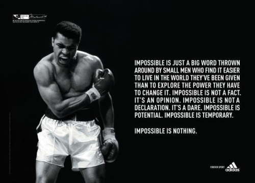 Love sport ads. They're persuasive, and incredibly motivational. The sport situations that are usually portrayed and the messages they deliver can easily be applied to every day life. Just makes me want to do more.