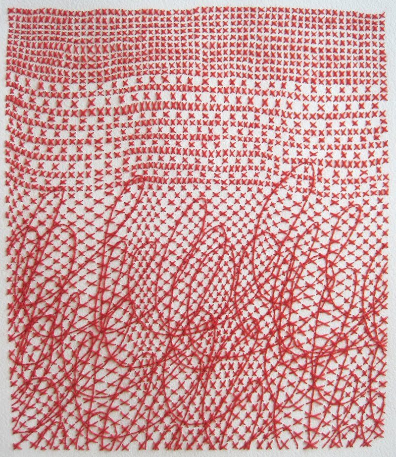 Emily Barletta,  Untitled (10) 2011, thread and paper