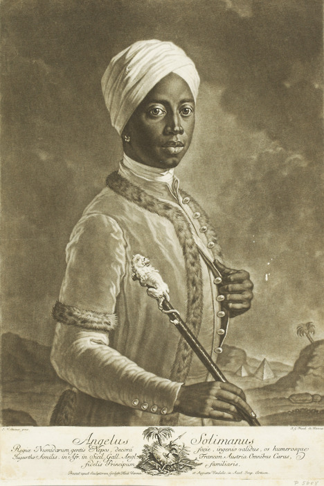 "fyeahblackhistory:  Angelo Soliman (ca.1721-1796) A  man of remarkable intelligence, intelligence that won his freedom. He spoke six languages fluently and could write three of them fluently as well. He was also a master swordsman, war hero,  chess specialist,  navigation expert, concert composer, and a tutor to royalty.  He was may have been the subject of Mozart's popular opera The Magic Flute.  Soliman is considered one of the most learned people of his generation. Angelo Soliman born in Africa in 1720/21 either to the Wandala or Mandara, a Muslim ethnic group in the Mandara Hills of Northern Cameroon but also in Bornu State Nigeria. His original name, Mmadi Make, is linked to a princely class in the Sokoto State in modern Nigeria. Around the age of 7 He was taken captive as a child and arrived in Marseilles as a slave, eventually transferring to the household of a marchioness in Messina who oversaw his education. Out of affection for another servant in the household, Angelina, he adopted the name Angelo and chose to celebrate September 11, his baptismal day, as his birthday. After repeated requests, he was given as a gift in 1734 to Prince Georg Christian, Fürst von Lobkowitz, the imperial governor of Sicily. He became the Prince's valet and traveling companion, accompanying him on military campaigns throughout Europe and reportedly saving his life on one occasion, a pivotal event responsible for his social ascension. After the death of Prince Lobkowitz, Soliman was taken into the Vienna household of Joseph Wenzel I, Prince of Liechtenstein, eventually rising to chief servant. Later, he became royal tutor of the heir to the Prince, Aloys I. A cultured man, Soliman was highly respected in the intellectual circles of Vienna and counted as a valued friend by Austrian Emperor Joseph II and Count Franz Moritz von Lacy. In 1783, he joined the Masonic lodge ""True Harmony"", whose membership included many of Vienna's influential artists and scholars of the time, among them the musicians Wolfgang Amadeus Mozart and Josef Haydn as well the Hungarian poet Ferenc Kazinczy. Lodge records indicate that Soliman and Mozart met on several occasions. It is likely that the character Bassa Selim in Mozart's opera The Abduction from the Seraglio was based on Soliman. Eventually becoming the Grand Master of that lodge, Soliman helped change its ritual to include scholarly elements. This new Masonic direction rapidly influenced Freemasonic practice throughout Europe. Remains dishonored in death While Angelo was cultured and dressed in the latest European fashions in life, death was not so kind to him. Emperor Francis II, who came to power in 1792, had Angelo skinned upon his death in 1796 when he died of a stroke strolling the streets of Vienna.  His body was taken to an anatomical theater where he was skinned and his skeleton was removed. His internal organs were then interred. His skin was given to the sculptor Franz Thaller who stretched it over a wooden model and then added stuffing to fill it out. The Emperor dressed the skin in what he thought was African garb and kept him in his wonder cabinet, a curio room. Eventually, Soliman was added to a display on Africa with a little girl, some animals, and an ex-zoo keeper who was also African. The display was destroyed in 1848 when a bomb being used to quell rioters hit the building where the display was stored and the display, thankfully, burned. A more detailed biography can be found here."