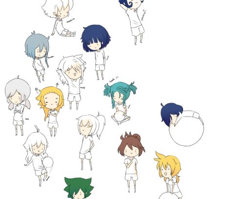Someday these will be done……someday. I'm coloring hairs now but I've forgotten half of the hair colors and I've lost the refs LOL so I'm looking for them ´ u ` Haaah Miyu's is the easiest cuz I need no color ref HURHUR 8D  These will be stickers I'll be sending each of you.