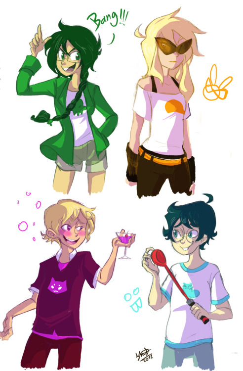 vanillavalerian:  ciritus:  Genderbend Alpha kids (with Jane this time!) WEll you look at that!, I manage to actually splat some excuse of coloring to that. but I must tell you the alpha kids girls were a little more ackward to genderbend hahaha( and yes I basically got inspired by Wallace from Scott Pilgrim for male!Roxy 8'D (I suggest Rory for his genderbend name hoho)).  LOL male Jane is pretty much John but with a SPOON  Oh jeez female Dirk <3<3<3<3<3 Also Male Roxy but c'mon this is Roxy we're talking about here