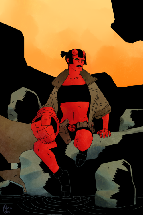 rule63rules:  [Image: Rule 63'd Hellboy sitting on an outcrop of rocks, her toes dipped in dark water as she glares off to the side. The sky is a smoky orange.] mayeko:  Crossing Hellgirl off my list.